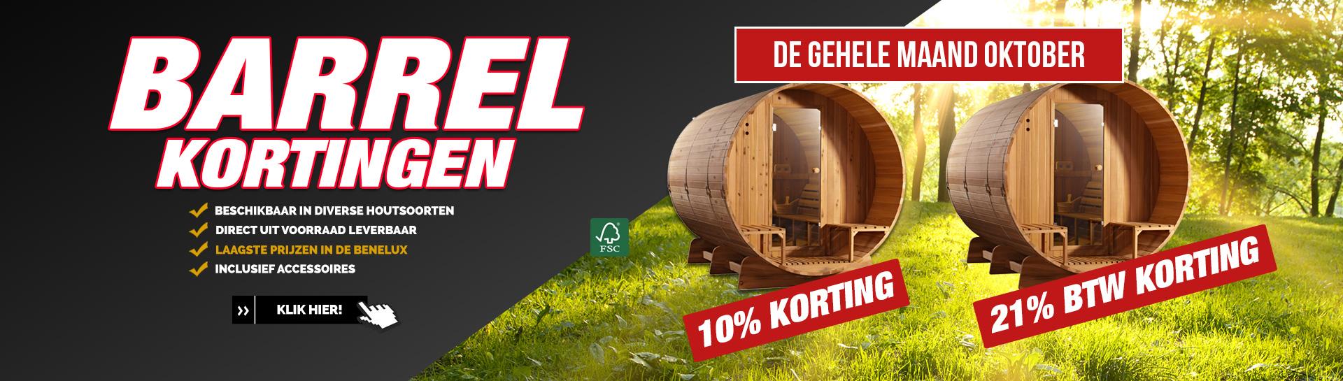 Barrel sauna actie oktober