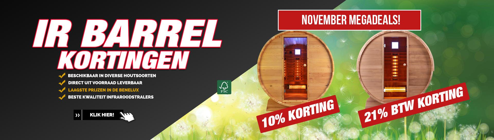 Barrel sauna infrarood november actie
