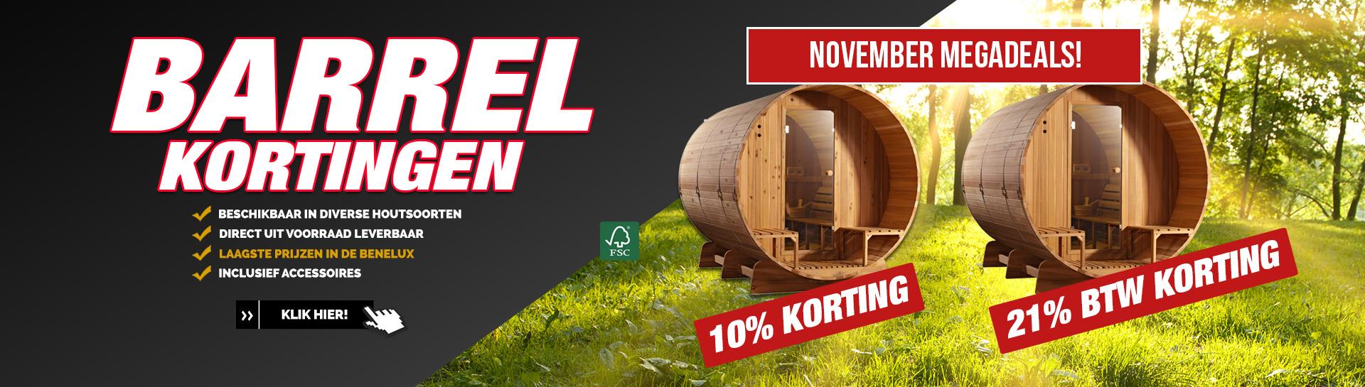 Barrel sauna november actie
