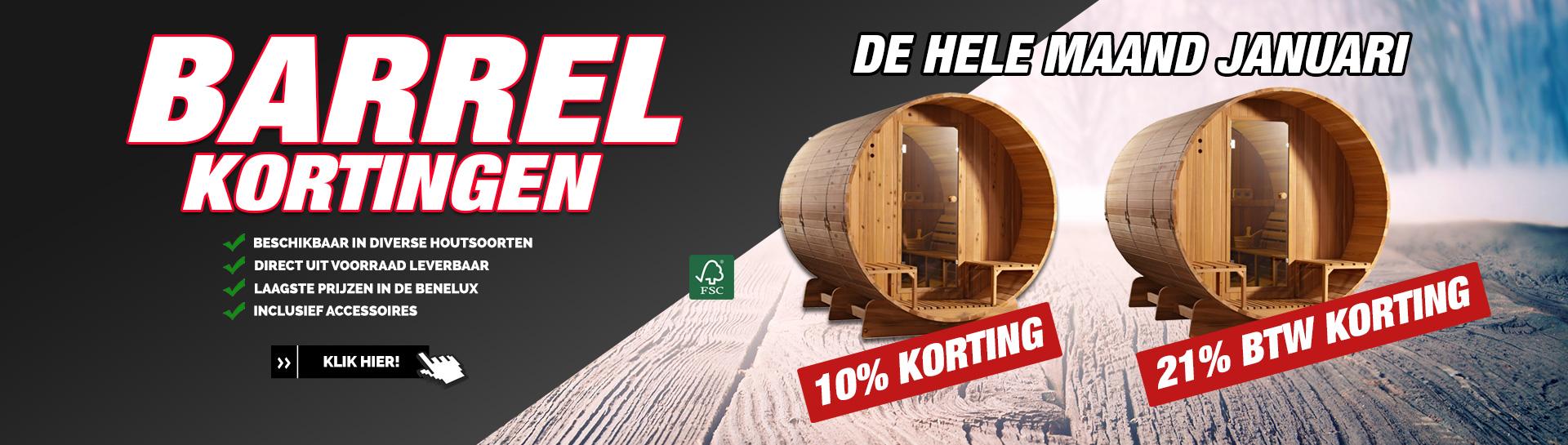 Barrel sauna januari actie