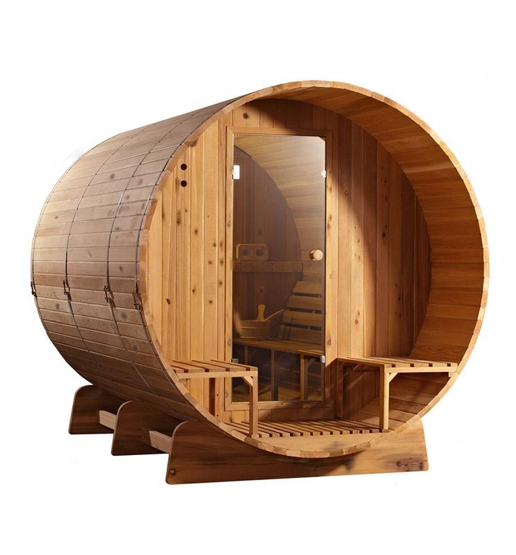 Barrel sauna Knotty zijaanzicht