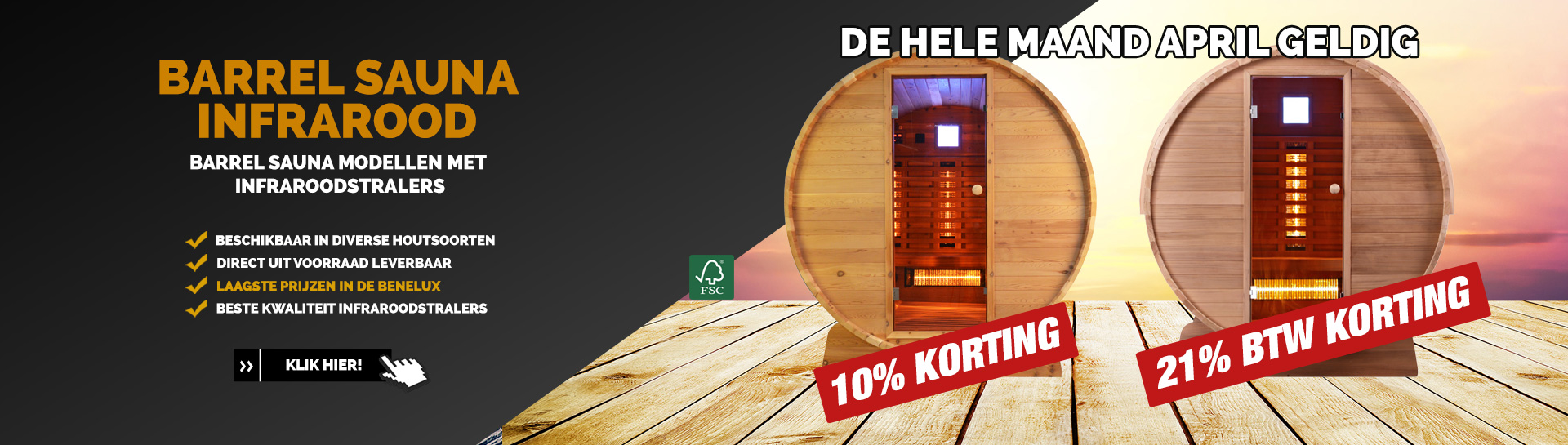 Barrel sauna infrarood April actie