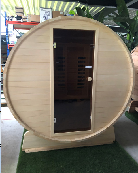 Barrel sauna infrarood yellow red cedar outlet model